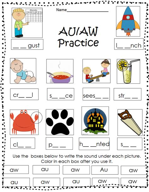word sort aw and au best teaching tips tools