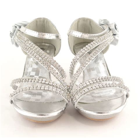 A Silver Dress Shoes by Silver Dress High Heels Flower Rhinestones Sandals Back Shoes