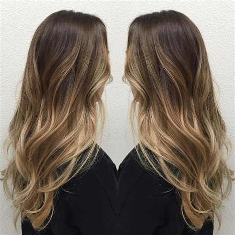 How To Balayage Med Layered Dark Brown | long layered medium brown hair with strawberry blonde