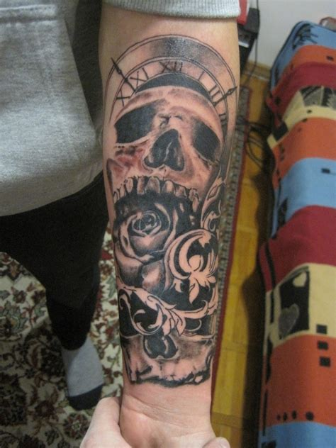 sweet skull clock arm tattoo jpg