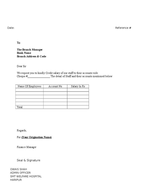 Cheque Transfer Letter Format Letter For Salaries Transfer To Bank