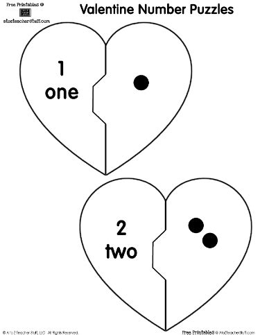 printable number puzzles for preschoolers printable heart number puzzles match the dots valentines
