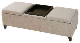 Ottoman Bench With Storage Fullerton Chamois Fabric Storage Ottoman Contemporary