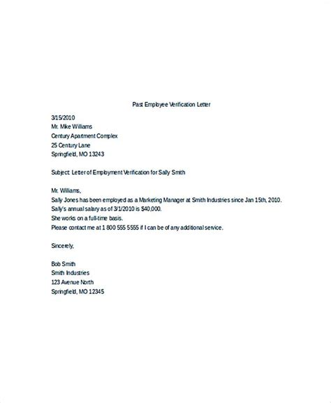 Employment Verification Letter Template Microsoft by Employment Verification Letter Template Madrat Co