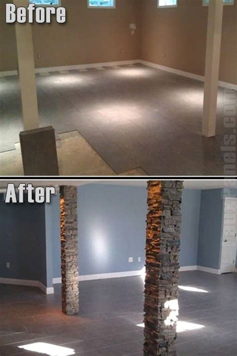 basement wrap faux stone columns in basement before and after