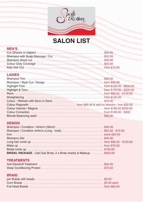 hairstyle price list bridal hair and make up price list short hairstyle 2013