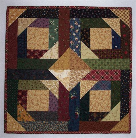 Patchwork Cabin - busy quilts pineapple log cabin quilt wall hanging