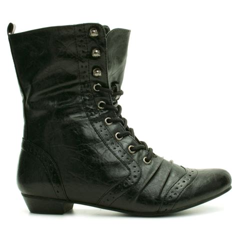 new womens brogue vintage flat lace ankle boots