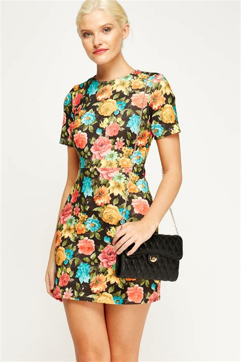 Fathana Flowery Bodycon Mini Dress floral mini bodycon dress 3 colours just 163 5