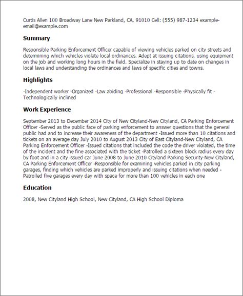 enforcement cover letter professional parking enforcement officer templates to