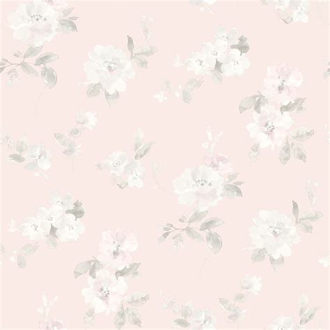 Houzz Dining Rooms by Captiva Light Pink Floral Toss Wallpaper Farmhouse