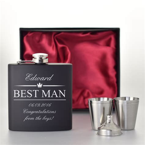 Best Man Wedding Gifts   Black Hip Flask Set