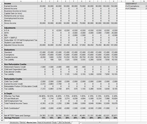 Tax Spreadsheet by Updated Financial Planning Spreadsheets Economics