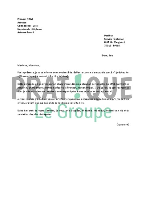 Exemple De Lettre Résiliation Assurance Habitation Modele Lettre Resiliation Assurance Habitation Pacifica Document
