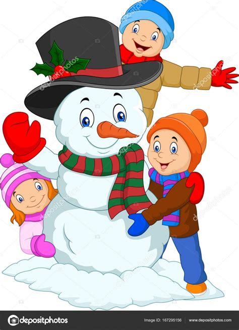 imagenes niños jugando en la nieve ni 241 os dibujos animados con mu 241 eco de nieve aislado sobre