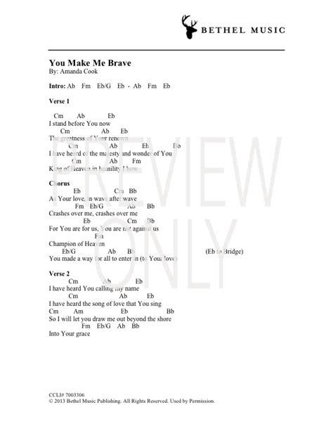 guitar tutorial you make me brave you make me brave lead sheet lyrics chords amanda