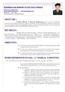 Electrical Foreman Resume by Resume Muhammad Asim Mehmood As Electrical Foreman
