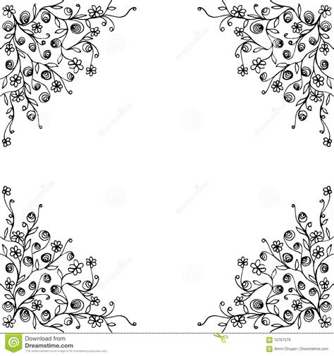 card templates printable black and white frame with flora corner decoration template design stock