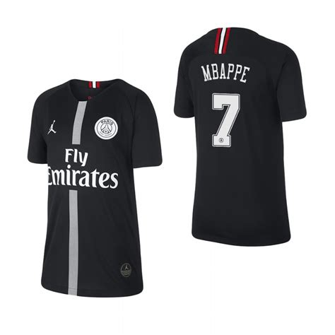 kylian mbappe jordan jersey youth paris saint germain black chions league custom 18