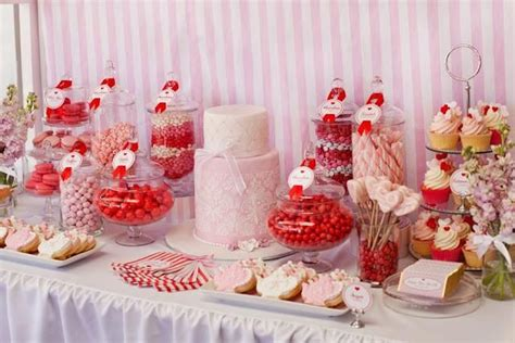 red white and pink dessert table perfect for a bridal