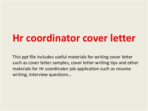 Hr Coordinator Cover Letter by Hr Coordinator Cover Letter