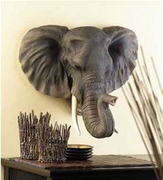 large hanging elephant bust statue sculpture