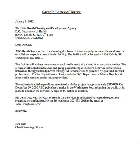 Letter Of Intent Email Template 17 Free Letter Of Intent Templates Free Sle Exle