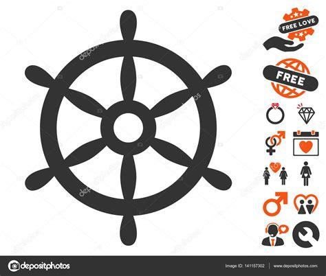 boat steering wheel icon boat steering wheel icon with love bonus stock vector