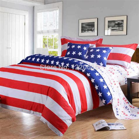 queen bed sheets new american pie flag printing 4pcs bedding set 100
