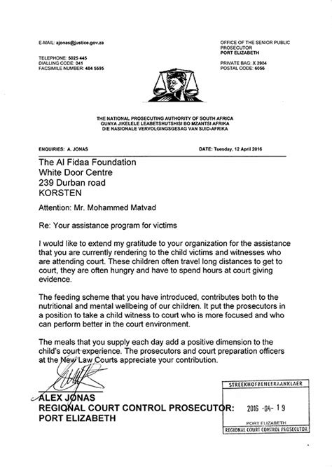 Community Service Acknowledgement Letter Acknowledgement Of Regional Court Prosecutor Al Fidaa Foundation