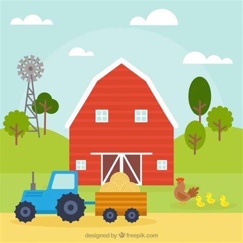 granero vector fondo de granero y tractor descargar vectores gratis