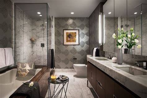 stunning one bedroom apartments in new york contemporary stunning wallpaper accent in the bathroom