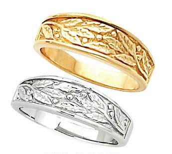 B Berry Gelang Gold White s leaf berry design tapered wedding band in yellow