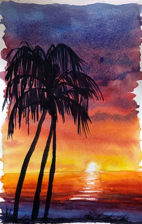 water color sunset how to watercolor paint a sunset sky with silhouettes