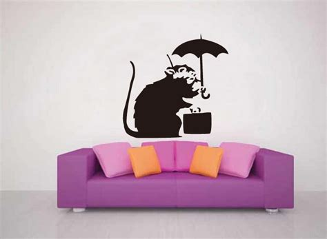 Wall Stiker Uk 60x90 Wall Sticker Sepasang Ranting Daun Hijau briefcase rat from banksy on your wall it 180 s possible