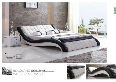 Luxury modern double bed design furniture leather bed for hot sale in beds from furniture on