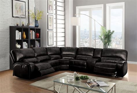 saul power motion sofa   black leather aire  acme