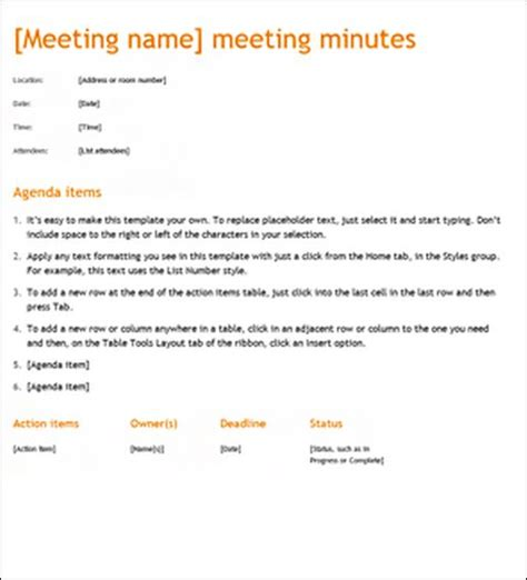 minutes of the meeting template sle meeting minute templates formal word templates