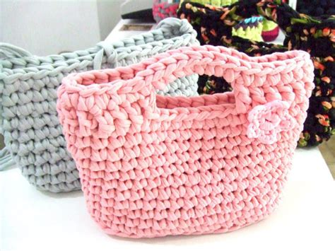 knitting pattern with tshirt yarn knitted bag small bag hand bag t shirt yarn by southstreet