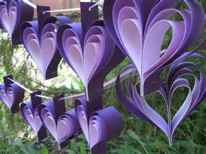 two garlands of purple hearts 10 hearts wedding shower