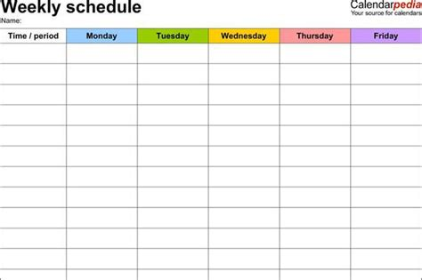 work schedule template blank monthly work schedule