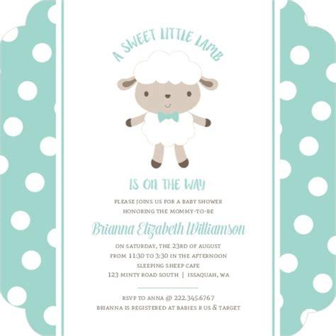Sheep Baby Shower Invitations by Mint Polkadot Sheep Baby Shower Invitation Boy Baby