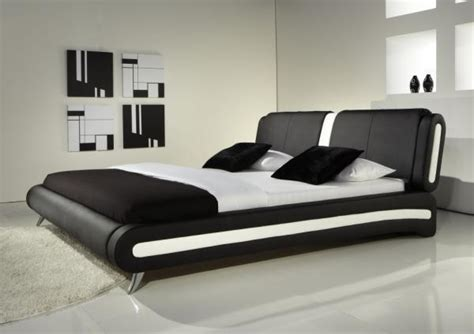 modern double or king size leather bed black white