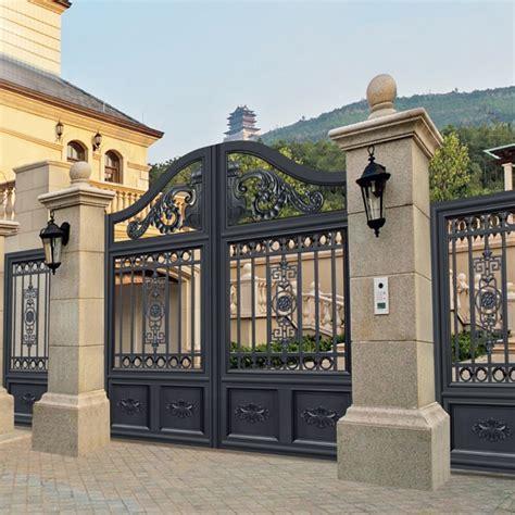 splendid design black villa  gate flowers carving