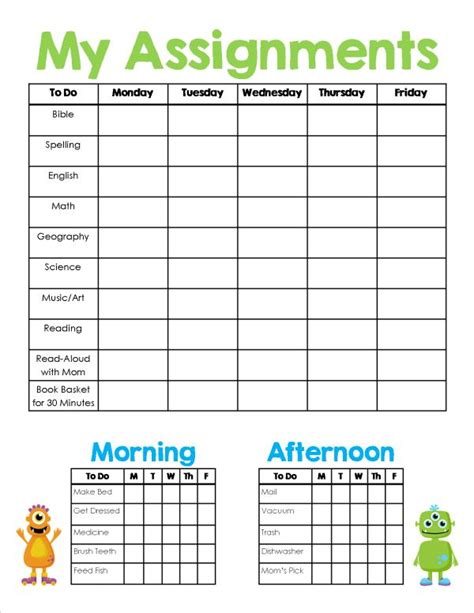 printable daily schedule for school homeschool assignment chores sheet free printable