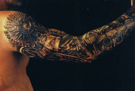bionic arm sleeve tattoo designs biomechanical tattoos