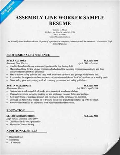 sle resume of factory worker professional resumes factory worker production line worker
