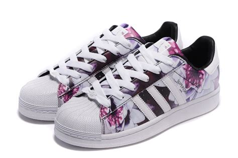 selling adidas originals superstar lotus print flower white purple af5582 s casual