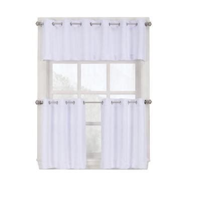 Grommet Kitchen Curtains Lichtenberg White Montego Grommet Kitchen Curtain Tiers 56 In W X 36 In L 38810 The Home Depot