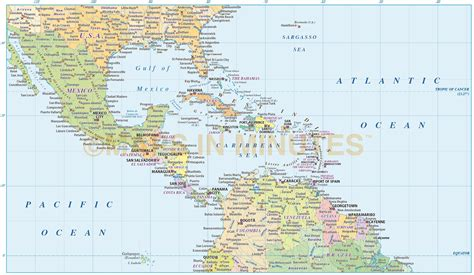 map usa and caribbean digital vector central america caribbean political map